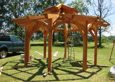 This is an example of simple gazebo that we designed, cut and assembled for our own enjoyment!