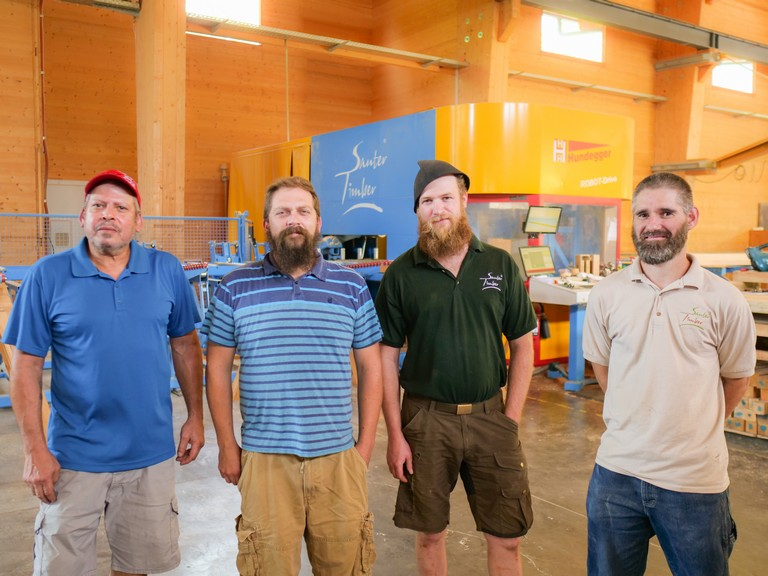 Daniel, Felix, Brent and Steve are the skilled wood finishers and draftsmen